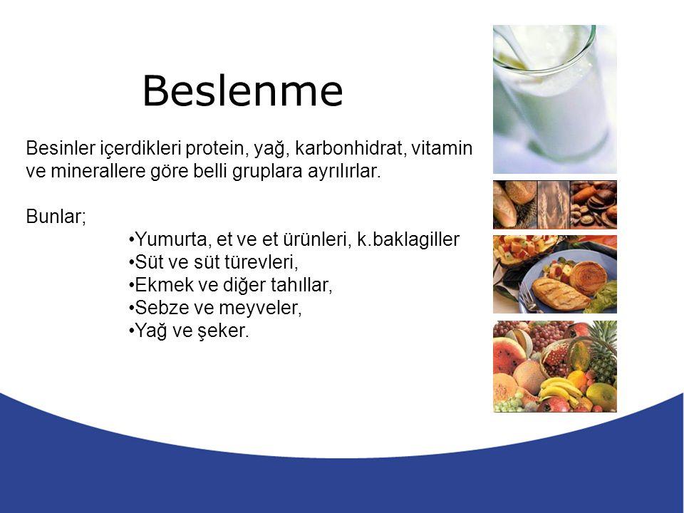 Beslenme 5 Besinler içerdikleri protein, yağ, karbonhidrat, vitamin ve minerallere göre belli gruplara ayrılırlar. Bunlar; Yumurta, et ve et ürünleri,