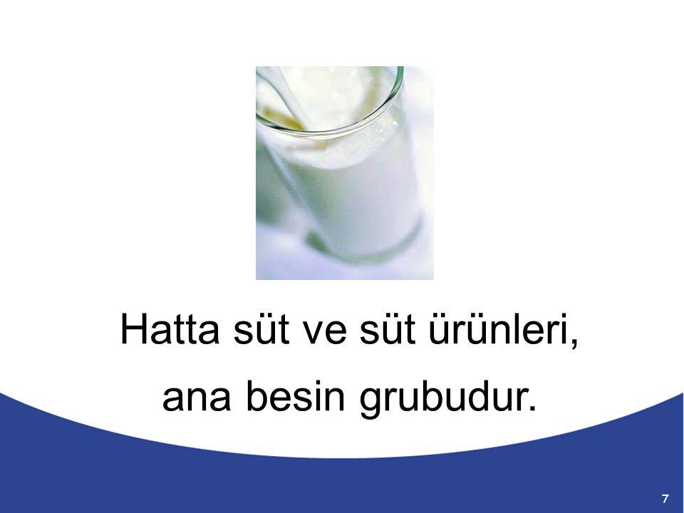 Hatta süt ve süt ürünleri, ana besin grubudur. 7