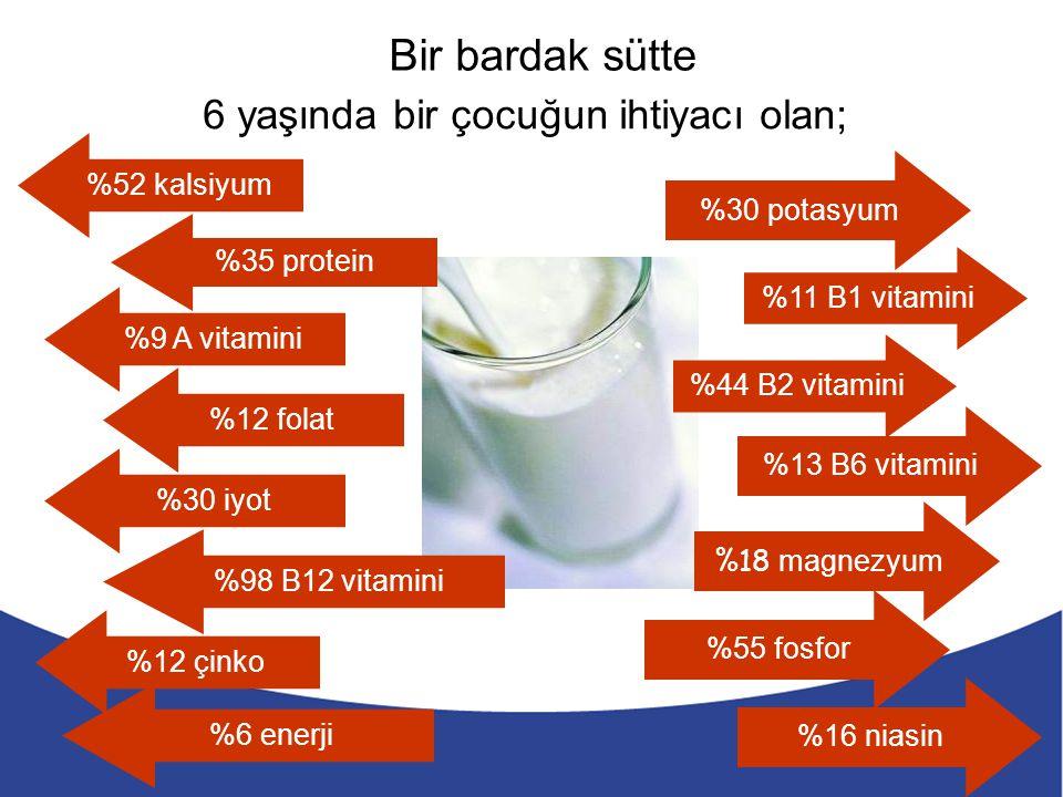 6 yaşında bir çocuğun ihtiyacı olan; Bir bardak sütte %52 kalsiyum %35 protein %9 A vitamini %12 folat %30 iyot %98 B12 vitamini %12 çinko %6 enerji %