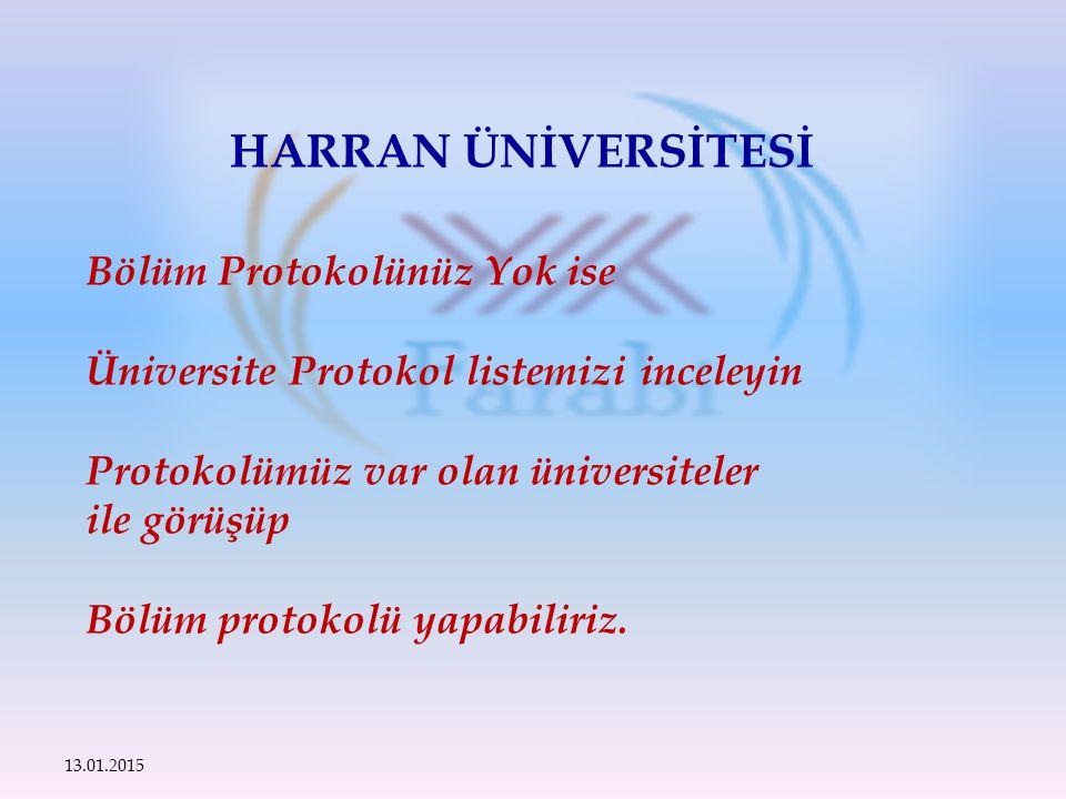 Bölüm Protokolünüz Yok ise Üniversite Protokol listemizi inceleyin Protokolümüz var olan üniversiteler ile görüşüp Bölüm protokolü yapabiliriz.