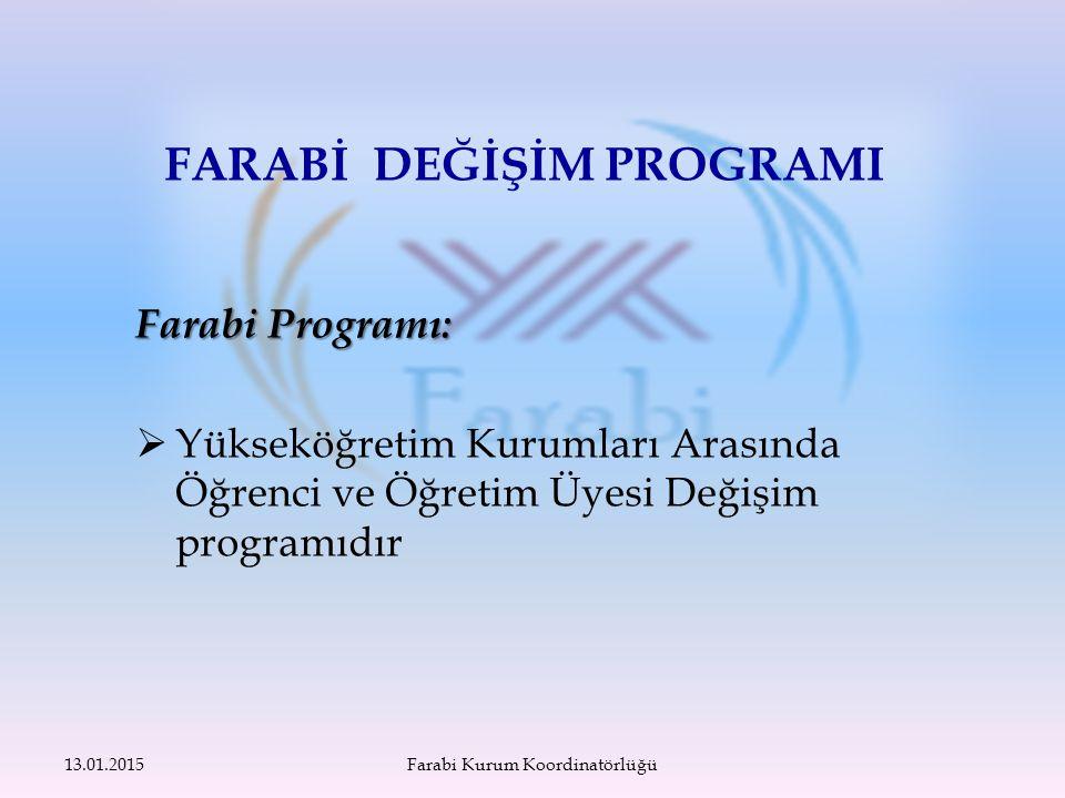Farabi Programı:  Yükseköğretim Kurumları Arasında Öğrenci ve Öğretim Üyesi Değişim programıdır FARABİ DEĞİŞİM PROGRAMI 13.01.2015Farabi Kurum Koordinatörlüğü