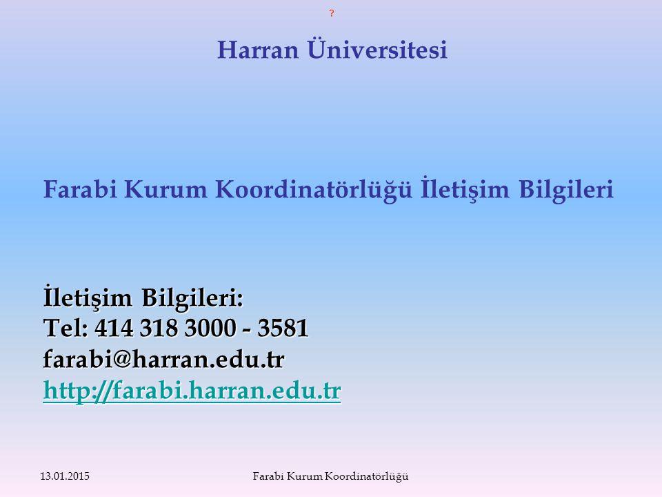 Harran Üniversitesi Farabi Kurum Koordinatörlüğü İletişim Bilgileri İletişim Bilgileri: Tel: 414 318 3000 - 3581 farabi@harran.edu.tr http://farabi.harran.edu.tr 13.01.2015Farabi Kurum Koordinatörlüğü