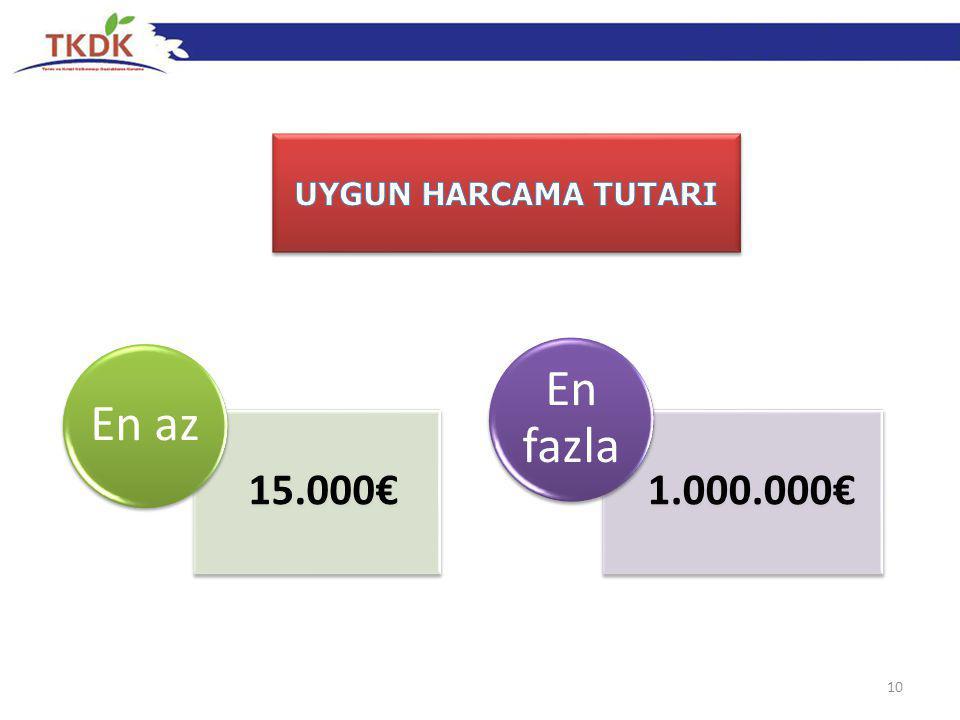 101-1 10 15.000€ En az 1.000.000€ En fazla