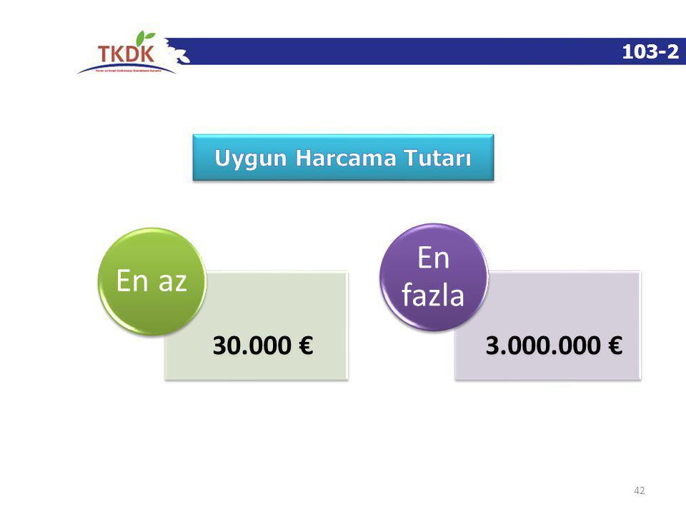 103-2 42 30.000 € En az 3.000.000 € En fazla