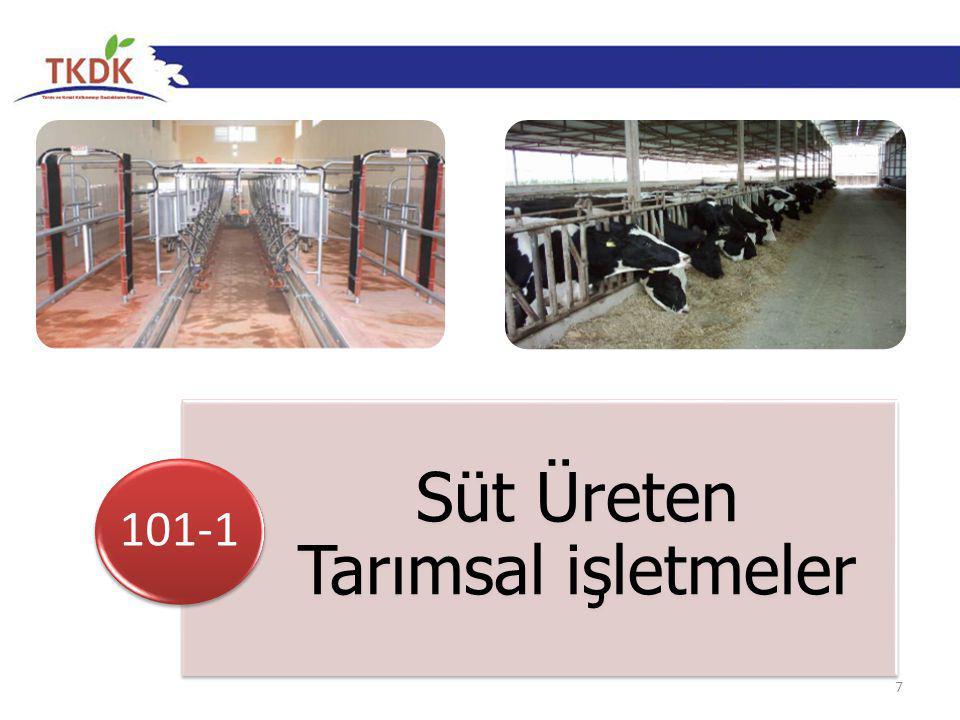 8 Özel Uygunluk Kriterleri Tarımsal İşletme 10-100 baş süt ineği veya 50-300 baş koyun veya keçiye sahip olmalı (7,8,9 baş süt ineğine sahip olanlar, yatırımın sonunda en az 10 baş süt ineğine sahip olmalı), 50 baştan fazla inek veya 150 baştan fazla koyun veya keçiye sahipse, yatırım sonunda gübrenin AB standartlarına göre depolanması ve yönetimi taahhüt edilmeli, Yatırım, süt hijyeni ile ilgili AB standartlarını hedefleyen yatırımları içermelidir.
