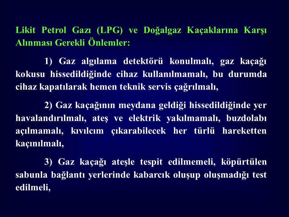 Likit Petrol Gazı (LPG) ve Doğalgaz Kaçaklarına Karşı Alınması Gerekli Önlemler: 1) Gaz algılama detektörü konulmalı, gaz kaçağı kokusu hissedildiğind