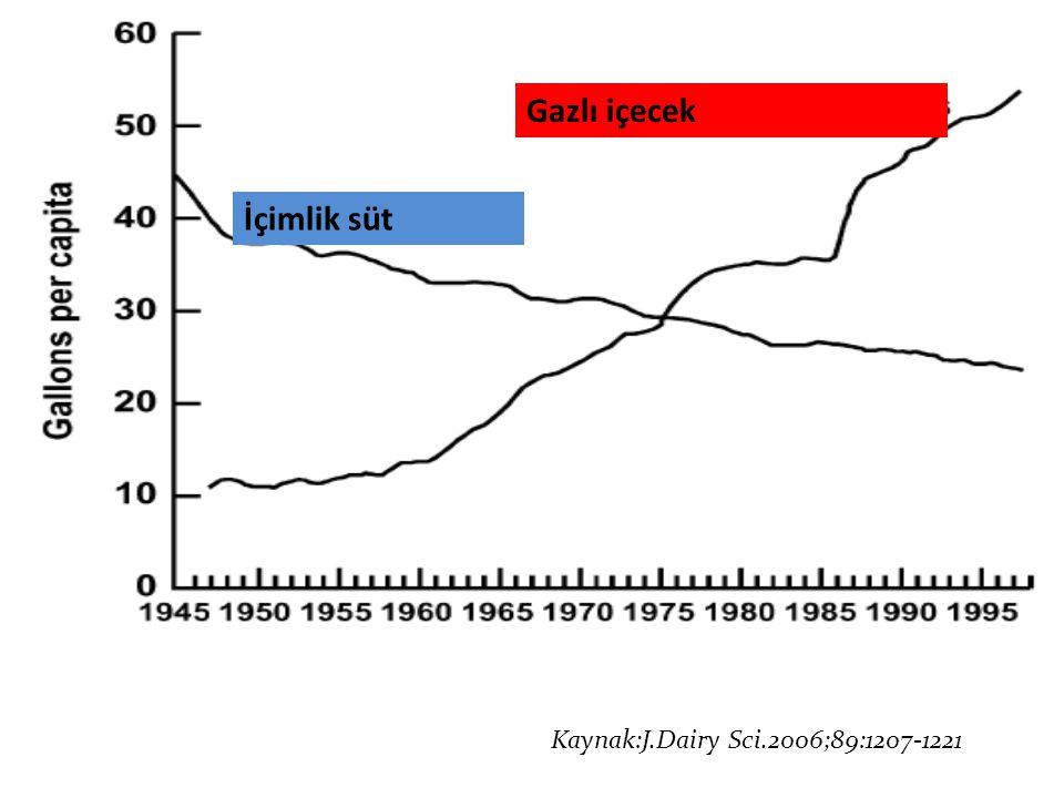 Kaynak: J Dairy Sci.2006;89:1207-1221 Kaynak:J.Dairy Sci.2006;89:1207-1221 İçimlik süt Gazlı içecek