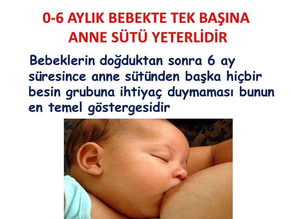 0-6 AYLIK BEBEKTE TEK BAŞINA ANNE SÜTÜ YETERLİDİR Bebeklerin doğduktan sonra 6 ay süresince anne sütünden başka hiçbir besin grubuna ihtiyaç duymaması bunun en temel göstergesidir