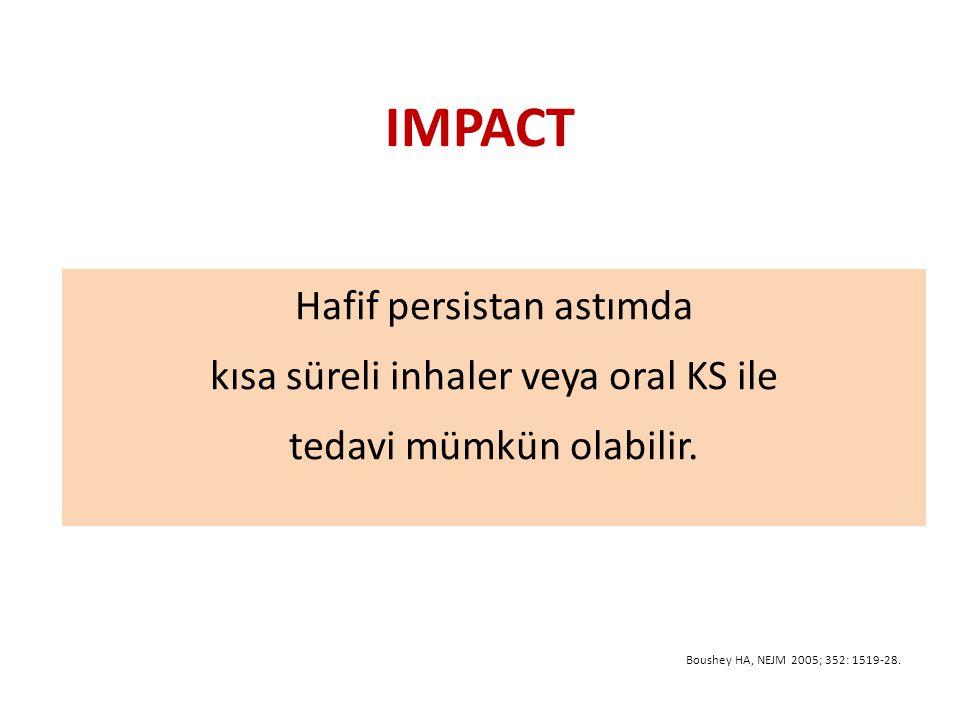 IMPACT Hafif persistan astımda kısa süreli inhaler veya oral KS ile tedavi mümkün olabilir.