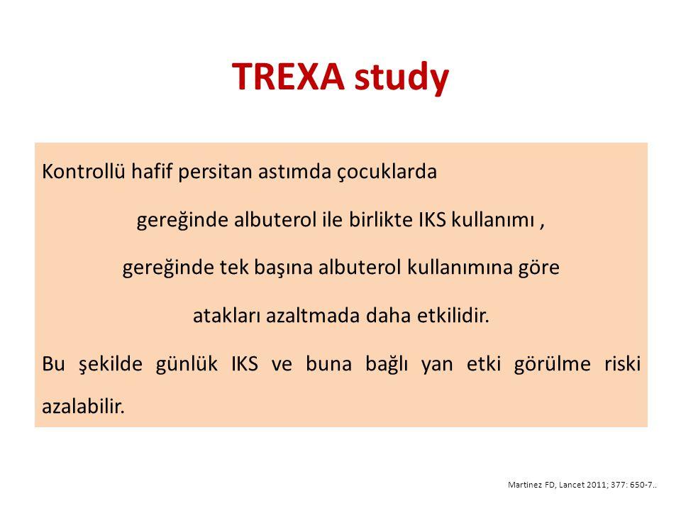 TREXA study Kontrollü hafif persitan astımda çocuklarda gereğinde albuterol ile birlikte IKS kullanımı, gereğinde tek başına albuterol kullanımına göre atakları azaltmada daha etkilidir.