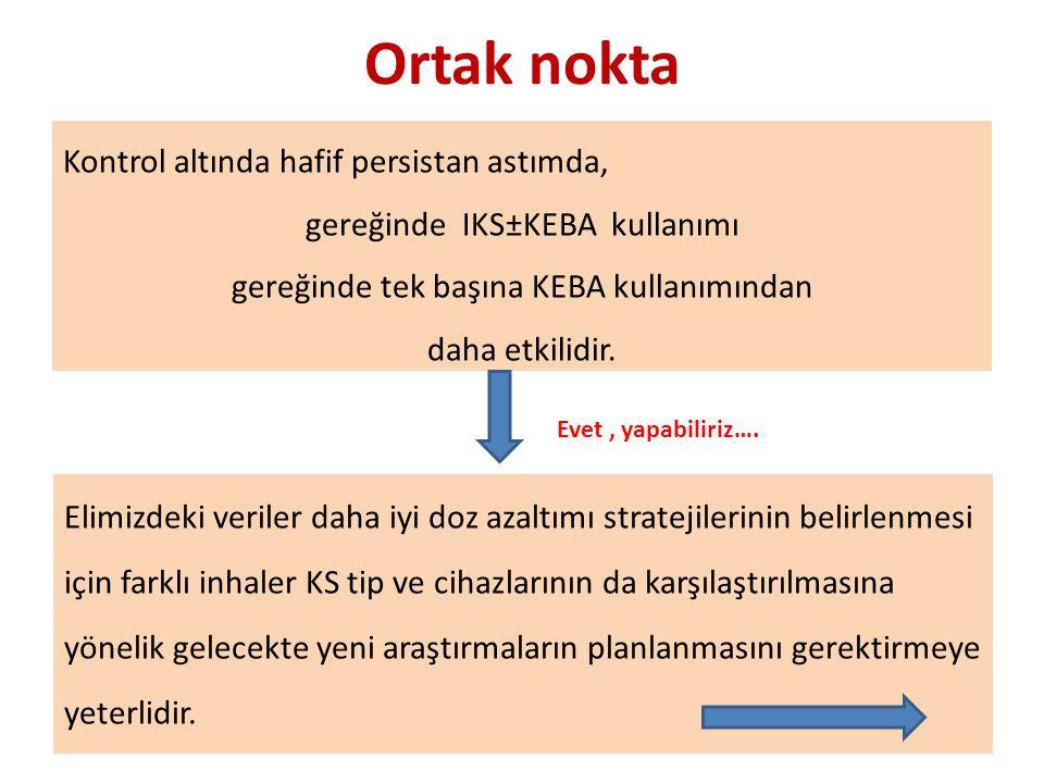 Ortak nokta Kontrol altında hafif persistan astımda, gereğinde IKS±KEBA kullanımı gereğinde tek başına KEBA kullanımından daha etkilidir.