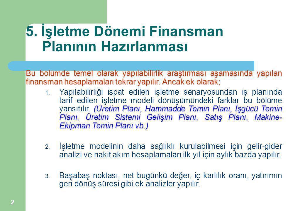 2 5. İşletme Dönemi Finansman Planının Hazırlanması Bu bölümde temel olarak yapılabilirlik araştırması aşamasında yapılan finansman hesaplamaları tekr