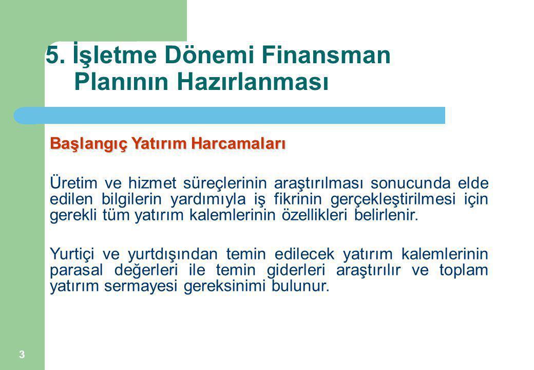 3 5. İşletme Dönemi Finansman Planının Hazırlanması Başlangıç Yatırım Harcamaları Üretim ve hizmet süreçlerinin araştırılması sonucunda elde edilen bi
