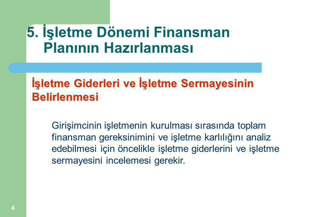 4 5. İşletme Dönemi Finansman Planının Hazırlanması İşletme Giderleri ve İşletme Sermayesinin Belirlenmesi Girişimcinin işletmenin kurulması sırasında