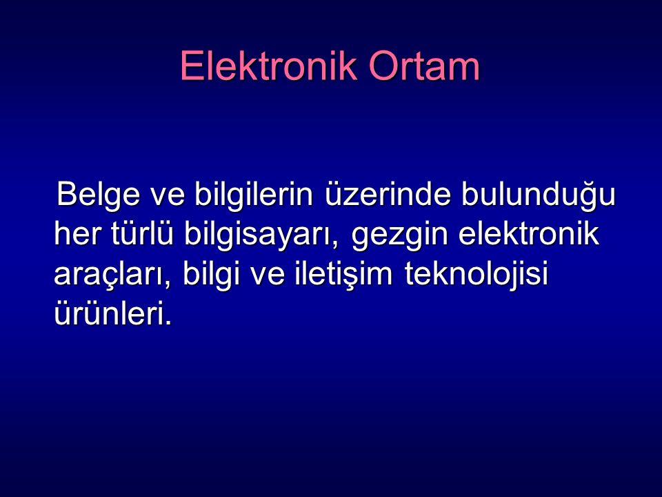 Elektronik Ortam Belge ve bilgilerin üzerinde bulunduğu her türlü bilgisayarı, gezgin elektronik araçları, bilgi ve iletişim teknolojisi ürünleri. Bel
