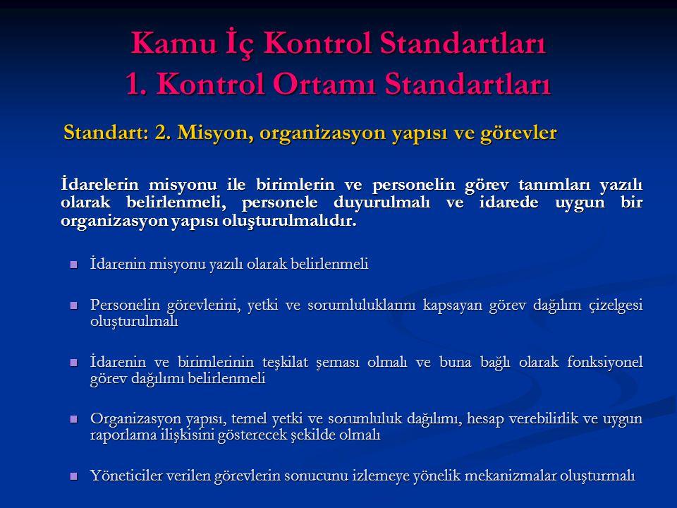 Kamu İç Kontrol Standartları 1. Kontrol Ortamı Standartları Standart: 2.