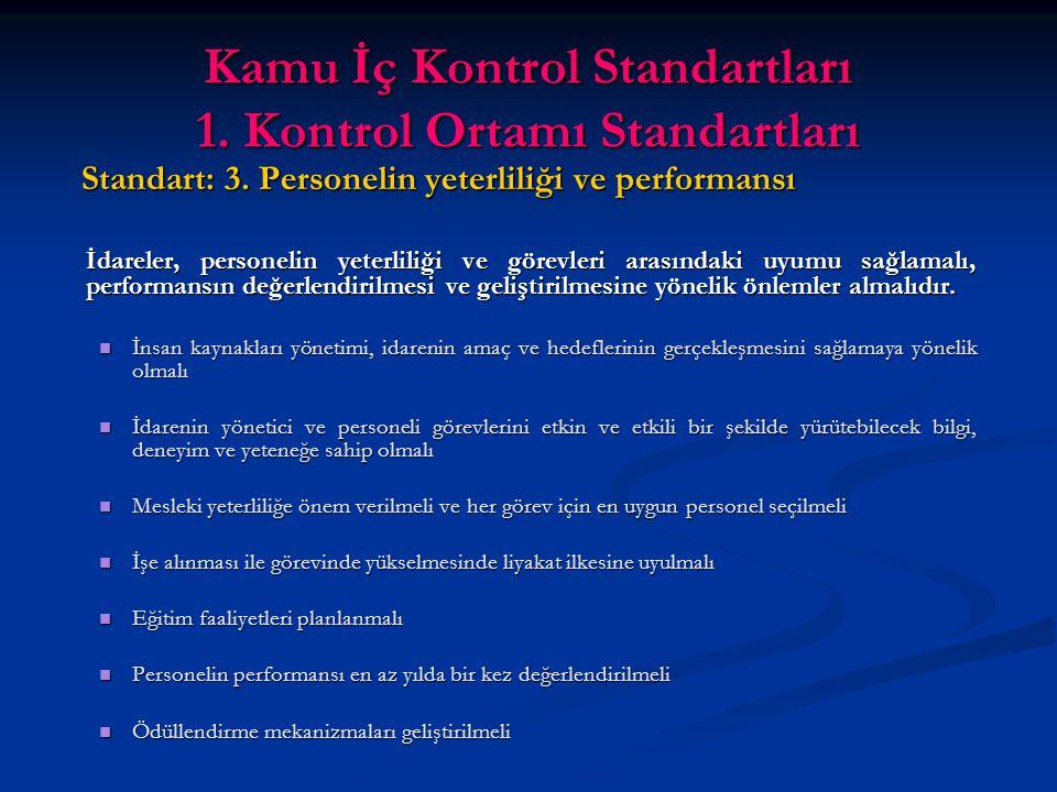 Kamu İç Kontrol Standartları 1. Kontrol Ortamı Standartları Standart: 3.