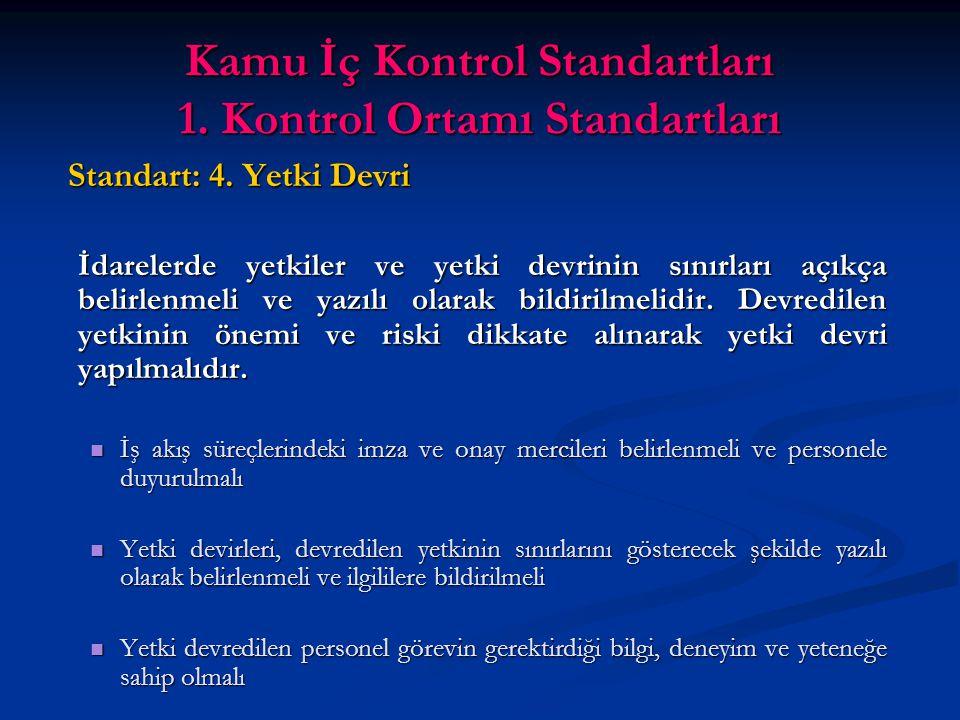 Kamu İç Kontrol Standartları 1. Kontrol Ortamı Standartları Standart: 4.