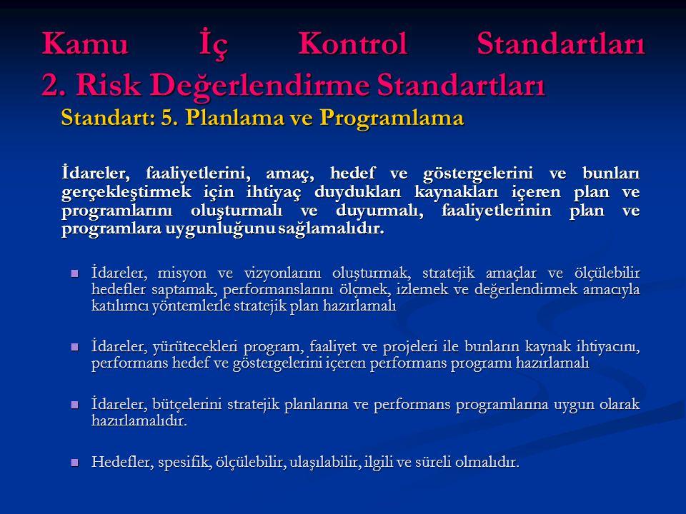 Kamu İç Kontrol Standartları 2. Risk Değerlendirme Standartları Standart: 5.
