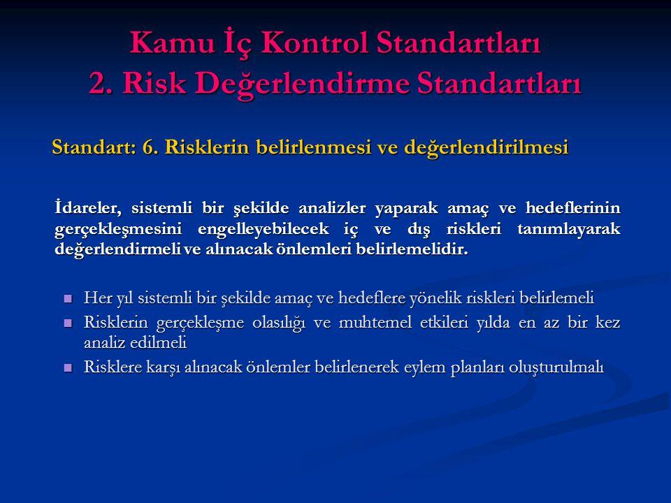 Kamu İç Kontrol Standartları 2. Risk Değerlendirme Standartları Standart: 6.