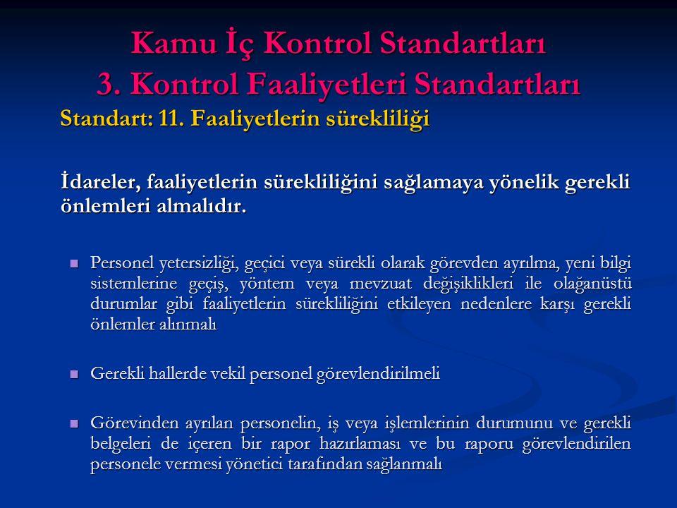 Kamu İç Kontrol Standartları 3. Kontrol Faaliyetleri Standartları Standart: 11.