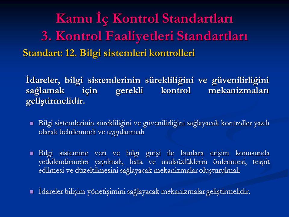Kamu İç Kontrol Standartları 3. Kontrol Faaliyetleri Standartları Standart: 12.