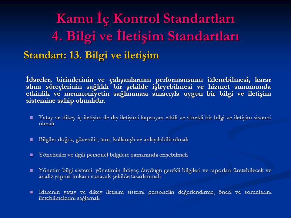 Kamu İç Kontrol Standartları 4. Bilgi ve İletişim Standartları Standart: 13.