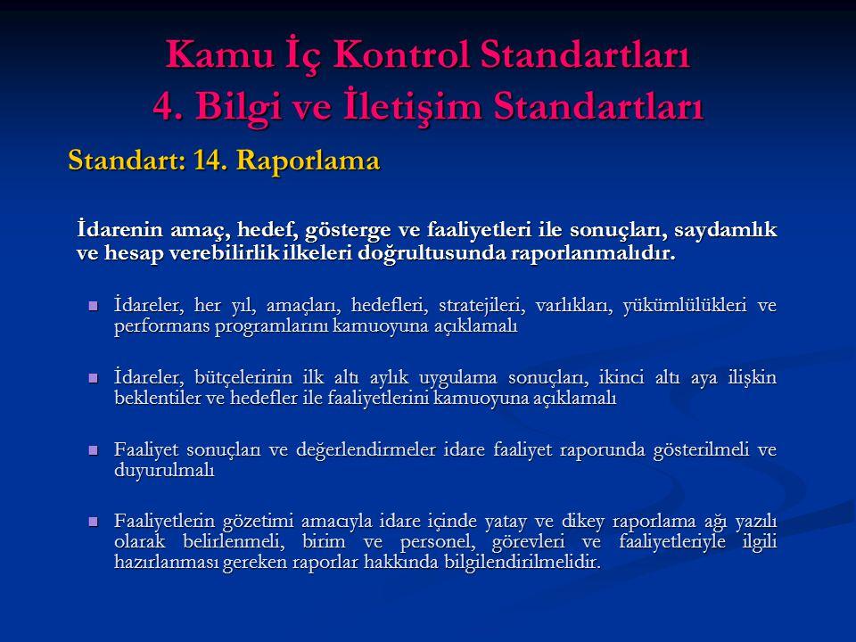 Kamu İç Kontrol Standartları 4. Bilgi ve İletişim Standartları Standart: 14.