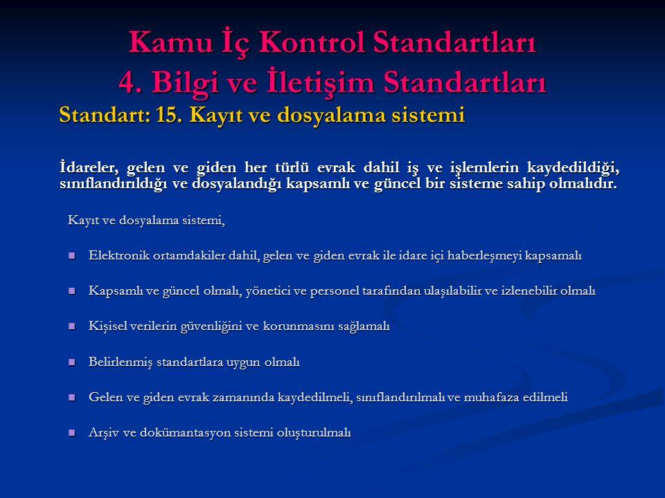 Kamu İç Kontrol Standartları 4. Bilgi ve İletişim Standartları Standart: 15.