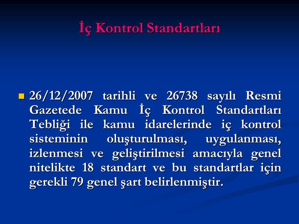 İç Kontrol Standartları 26/12/2007 tarihli ve 26738 sayılı Resmi Gazetede Kamu İç Kontrol Standartları Tebliği ile kamu idarelerinde iç kontrol sisteminin oluşturulması, uygulanması, izlenmesi ve geliştirilmesi amacıyla genel nitelikte 18 standart ve bu standartlar için gerekli 79 genel şart belirlenmiştir.