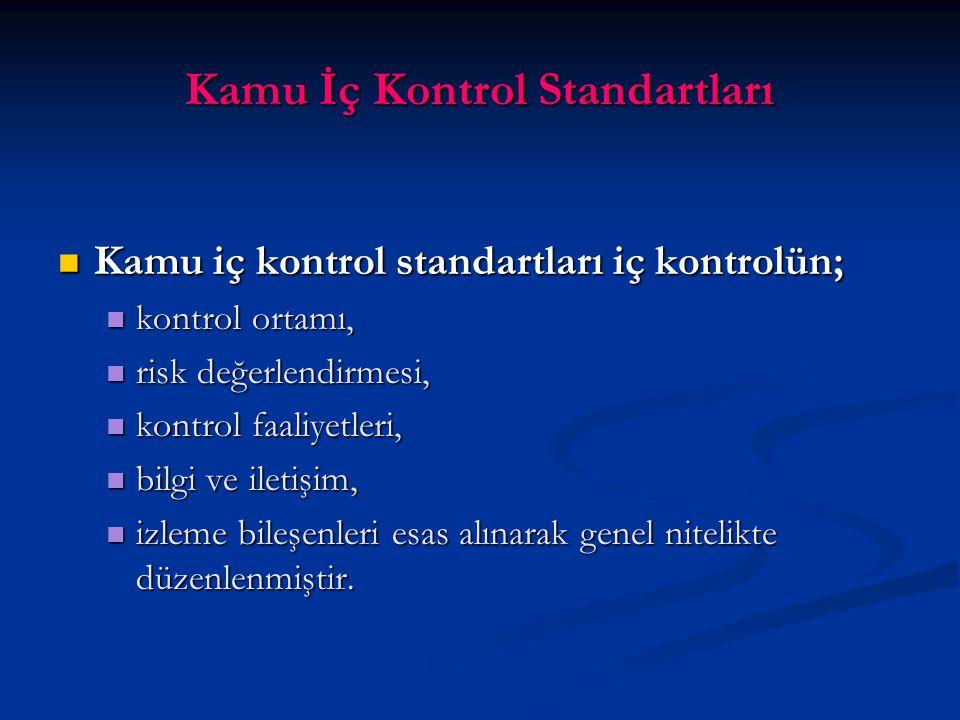 Kamu İç Kontrol Standartları Kamu iç kontrol standartları iç kontrolün; Kamu iç kontrol standartları iç kontrolün; kontrol ortamı, kontrol ortamı, risk değerlendirmesi, risk değerlendirmesi, kontrol faaliyetleri, kontrol faaliyetleri, bilgi ve iletişim, bilgi ve iletişim, izleme bileşenleri esas alınarak genel nitelikte düzenlenmiştir.