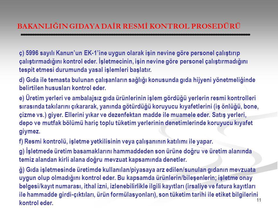 11 BAKANLIĞIN GIDAYA DAİR RESMİ KONTROL PROSEDÜRÜ ç) 5996 sayılı Kanun'un EK-1'ine uygun olarak işin nevine göre personel çalıştırıp çalıştırmadığını