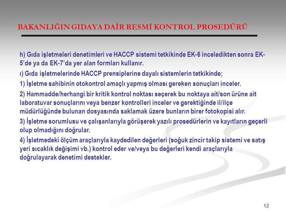 12 BAKANLIĞIN GIDAYA DAİR RESMİ KONTROL PROSEDÜRÜ h) Gıda işletmeleri denetimleri ve HACCP sistemi tetkikinde EK-6 inceledikten sonra EK- 5'de ya da E