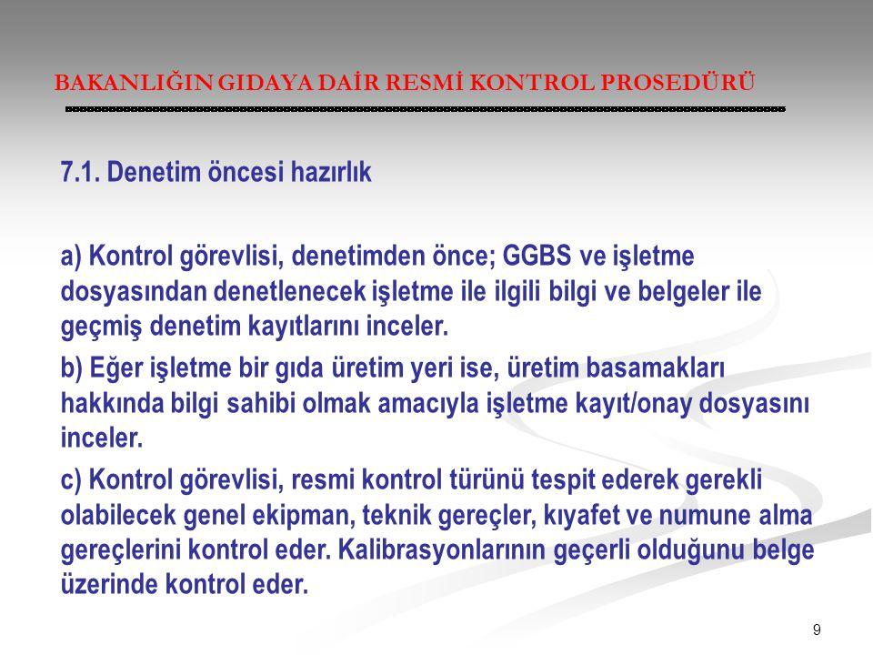 9 BAKANLIĞIN GIDAYA DAİR RESMİ KONTROL PROSEDÜRÜ 7.1. Denetim öncesi hazırlık a) Kontrol görevlisi, denetimden önce; GGBS ve işletme dosyasından denet