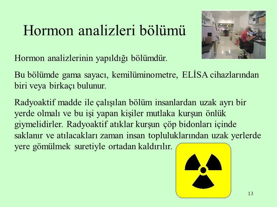 13 Hormon analizleri bölümü Hormon analizlerinin yapıldığı bölümdür. Bu bölümde gama sayacı, kemilüminometre, ELİSA cihazlarından biri veya birkaçı bu
