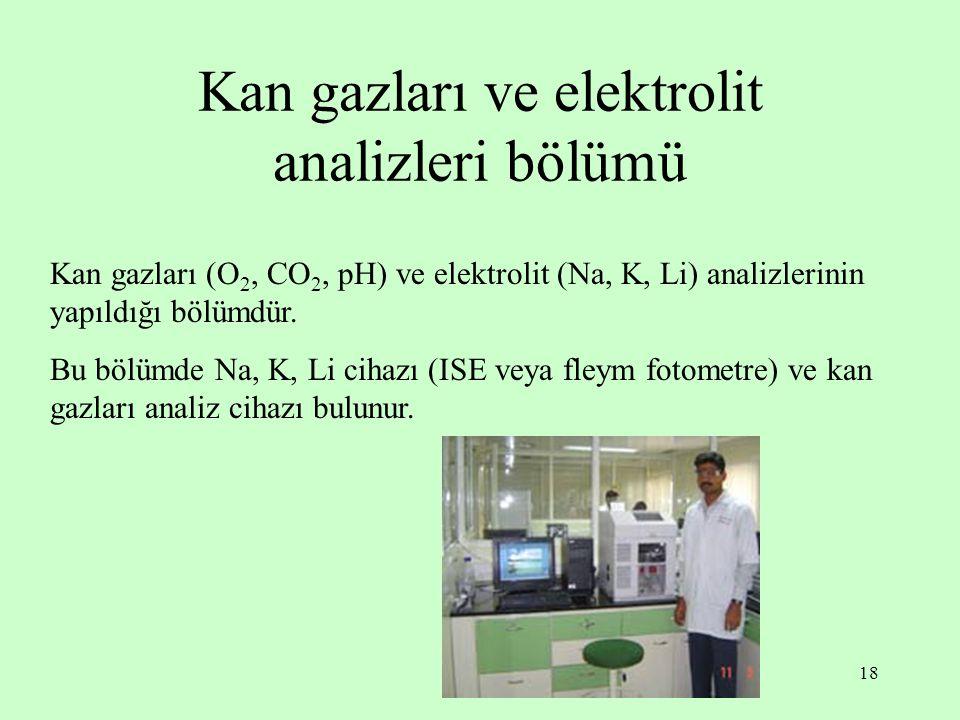 18 Kan gazları ve elektrolit analizleri bölümü Kan gazları (O 2, CO 2, pH) ve elektrolit (Na, K, Li) analizlerinin yapıldığı bölümdür. Bu bölümde Na,