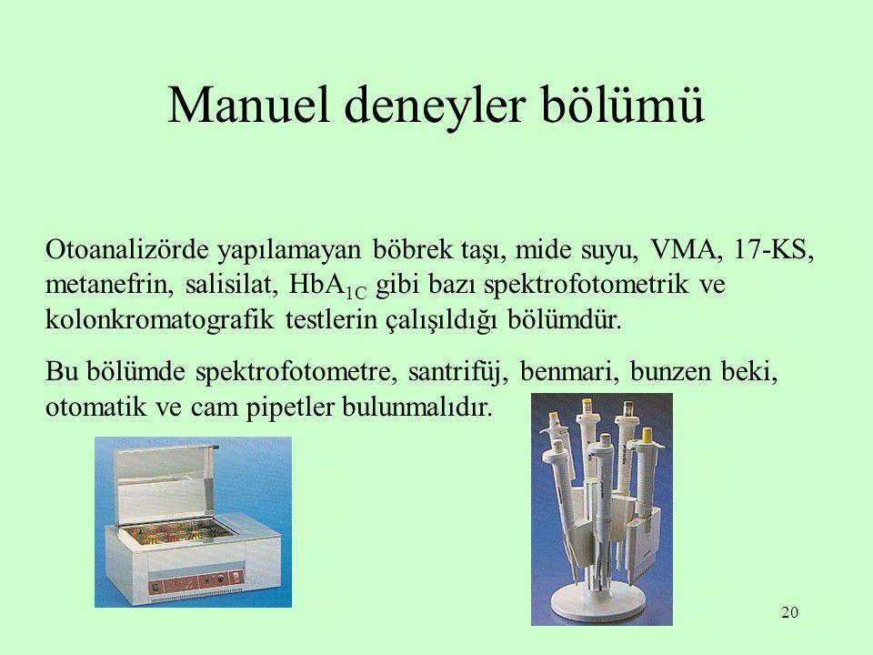20 Manuel deneyler bölümü Otoanalizörde yapılamayan böbrek taşı, mide suyu, VMA, 17-KS, metanefrin, salisilat, HbA 1C gibi bazı spektrofotometrik ve k