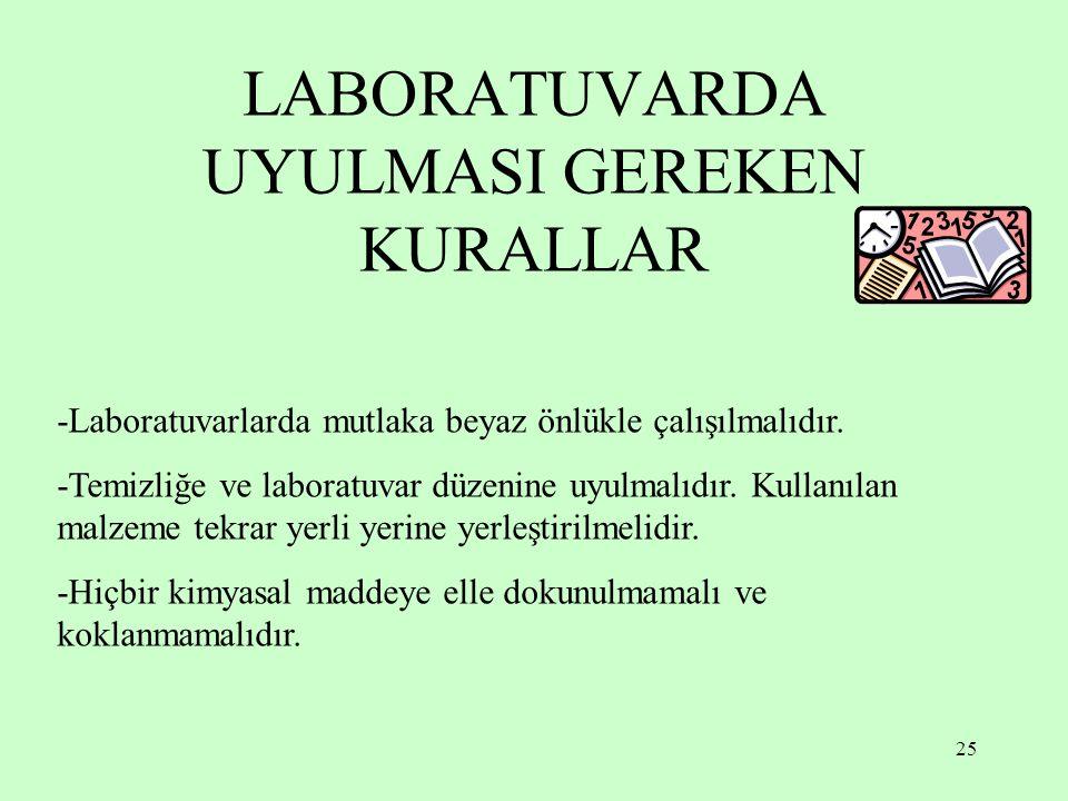 25 LABORATUVARDA UYULMASI GEREKEN KURALLAR -Laboratuvarlarda mutlaka beyaz önlükle çalışılmalıdır. -Temizliğe ve laboratuvar düzenine uyulmalıdır. Kul