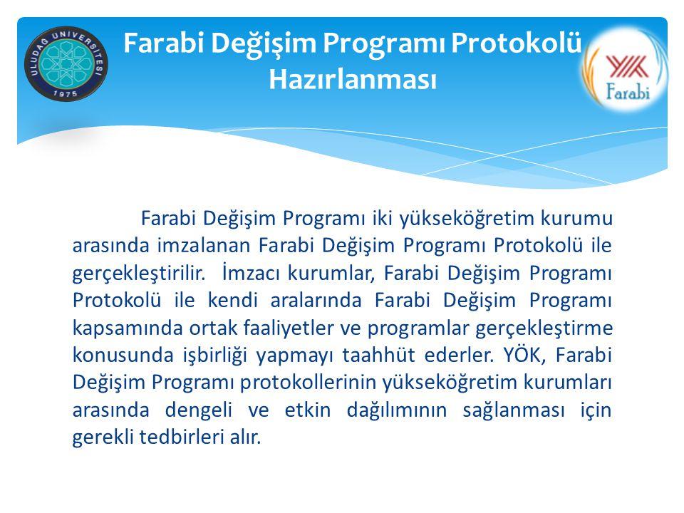 GİDEN ÖĞRENCİ İlgili Üniversite (Farabi Kurum Koordinatörlüğü); Bölüm/Program ve Farabi Kurum Koordinatörünce onaylanan Öğrenim Protokolleri (1 nüsha) ile birlikte Öğrenci Kabul Belgelerini Uludağ Üniversitesine gönderir.