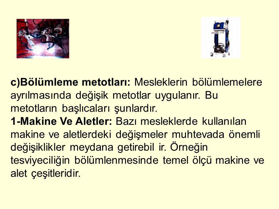 c)Bölümleme metotları: Mesleklerin bölümlemelere ayrılmasında değişik metotlar uygulanır. Bu metotların başlıcaları şunlardır. 1-Makine Ve Aletler: Ba