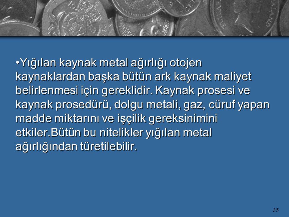 35 Yığılan kaynak metal ağırlığı otojen kaynaklardan başka bütün ark kaynak maliyet belirlenmesi için gereklidir. Kaynak prosesi ve kaynak prosedürü,