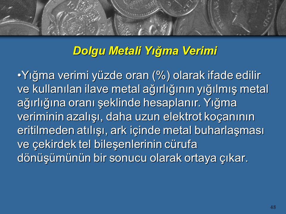 48 Yığma verimi yüzde oran (%) olarak ifade edilir ve kullanılan ilave metal ağırlığının yığılmış metal ağırlığına oranı şeklinde hesaplanır.