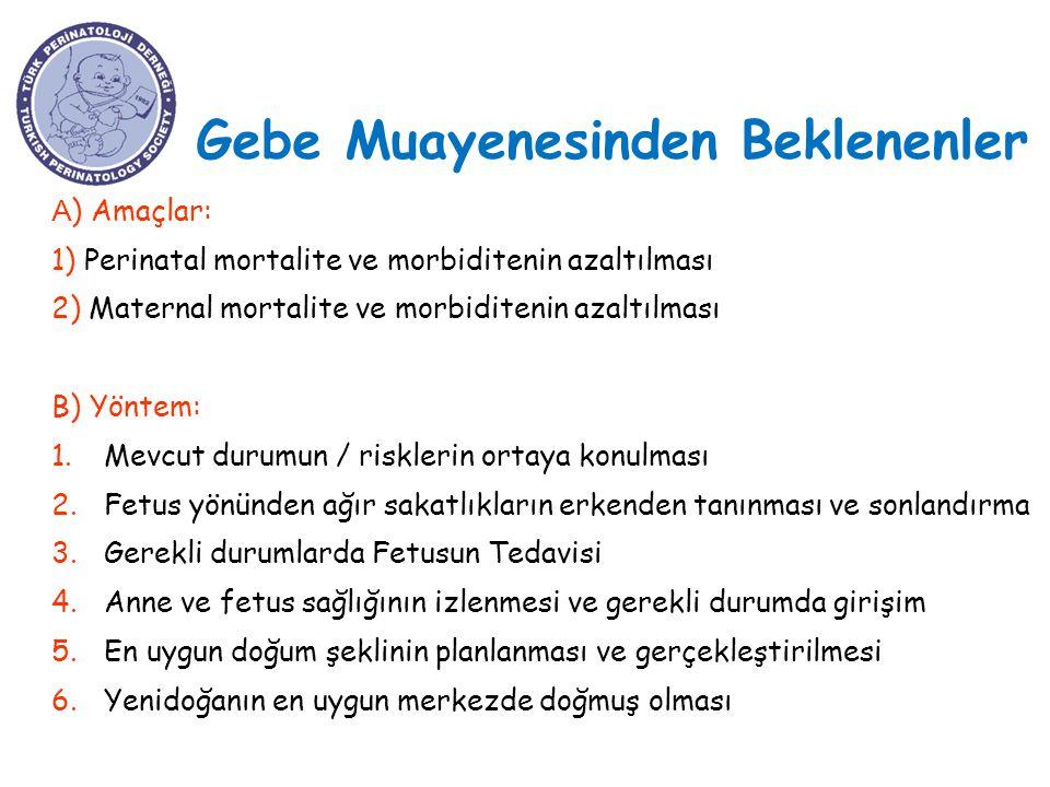 Gebe Muayenesinden Beklenenler A ) Amaçlar: 1) Perinatal mortalite ve morbiditenin azaltılması 2) Maternal mortalite ve morbiditenin azaltılması B) Yö