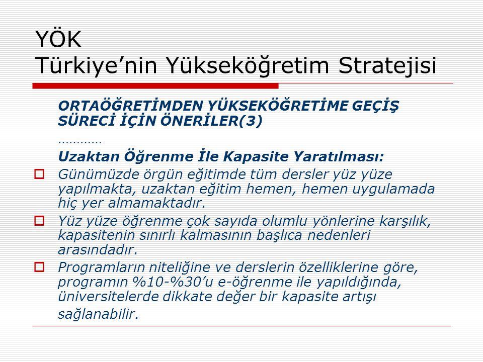 YÖK Türkiye'nin Yükseköğretim Stratejisi ORTAÖĞRETİMDEN YÜKSEKÖĞRETİME GEÇİŞ SÜRECİ İÇİN ÖNERİLER(3) ………… Uzaktan Öğrenme İle Kapasite Yaratılması: 
