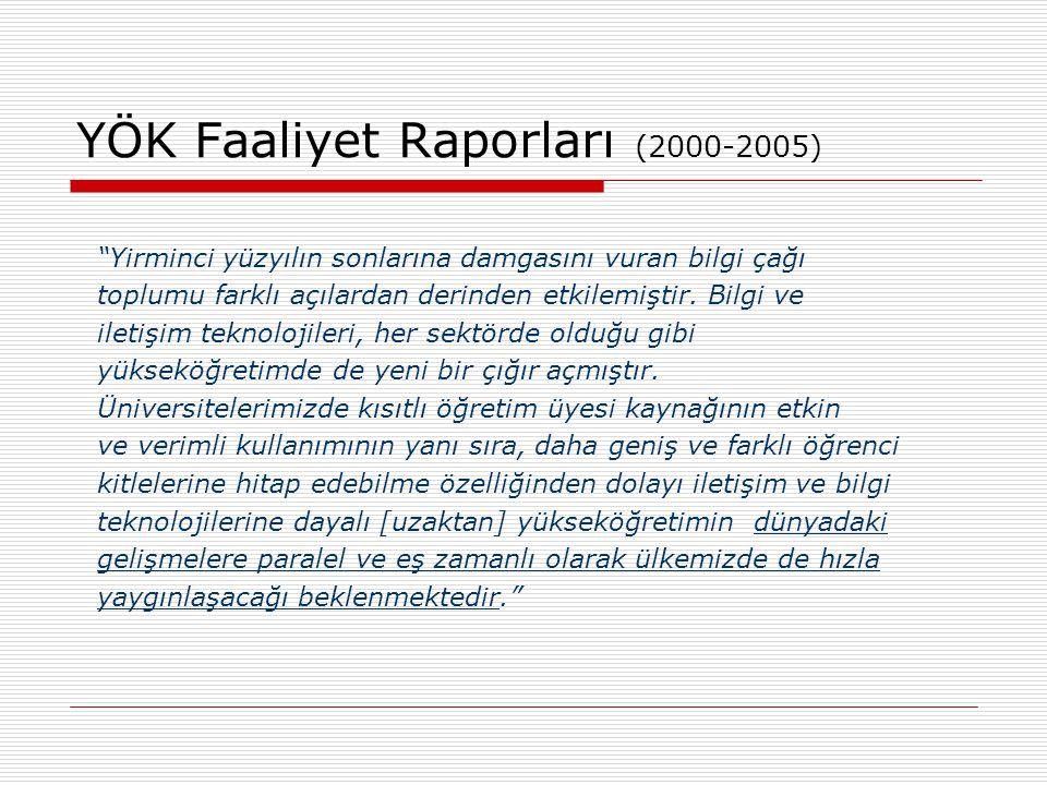 """YÖK Faaliyet Raporları (2000-2005) """"Yirminci yüzyılın sonlarına damgasını vuran bilgi çağı toplumu farklı açılardan derinden etkilemiştir. Bilgi ve il"""