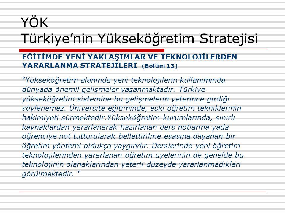 """YÖK Türkiye'nin Yükseköğretim Stratejisi EĞİTİMDE YENİ YAKLAŞIMLAR VE TEKNOLOJİLERDEN YARARLANMA STRATEJİLERİ (Bölüm 13) """"Yükseköğretim alanında yeni"""