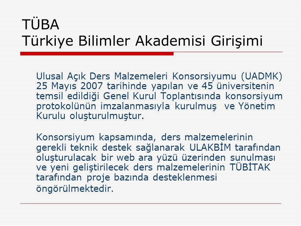 TÜBA Türkiye Bilimler Akademisi Girişimi Ulusal Açık Ders Malzemeleri Konsorsiyumu (UADMK) 25 Mayıs 2007 tarihinde yapılan ve 45 üniversitenin temsil