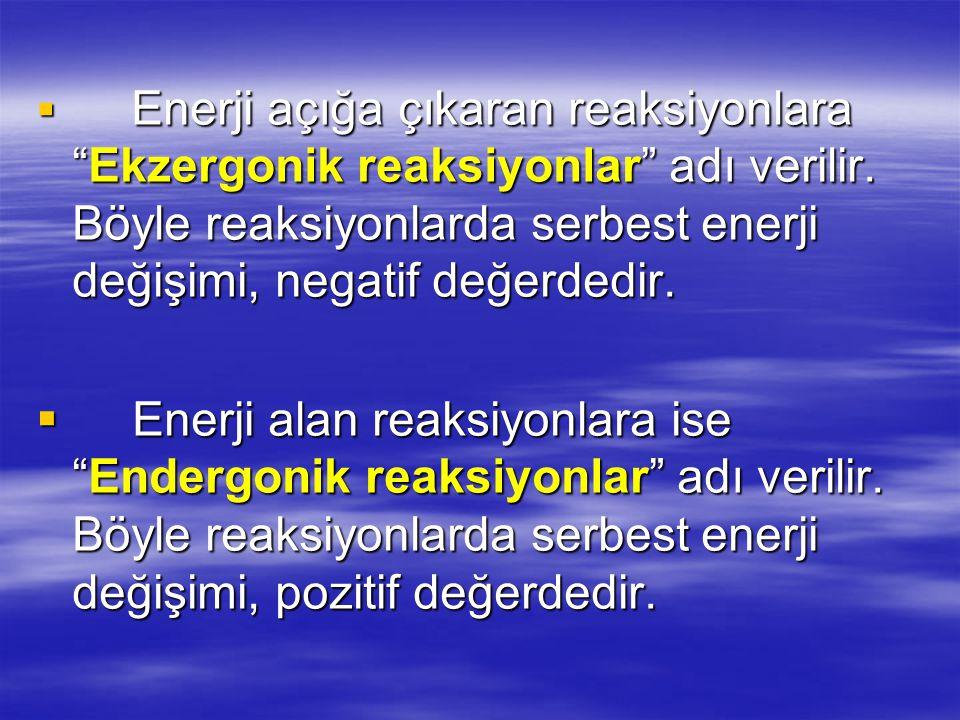  Enerji açığa çıkaran reaksiyonlara Ekzergonik reaksiyonlar adı verilir.