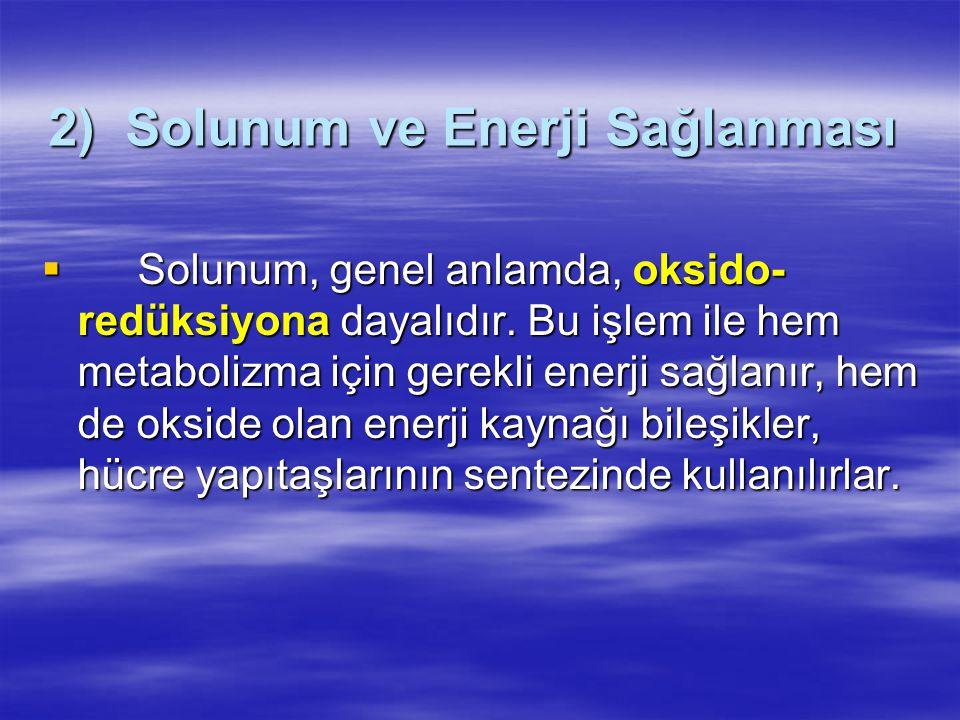 2) Solunum ve Enerji Sağlanması  Solunum, genel anlamda, oksido- redüksiyona dayalıdır.