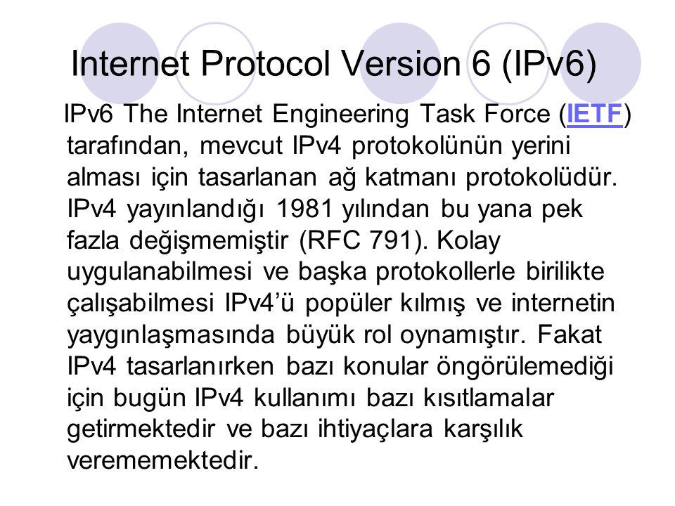 IPv4'ün yetersiz kaldığı bazı konular şunlardır: İnternetin her geçen gün artan bir hızla büyümesi ve internete bağlı mobil cihazların hızla artması IPv4 adres uzayının tükenmesine sebep olacaktır.